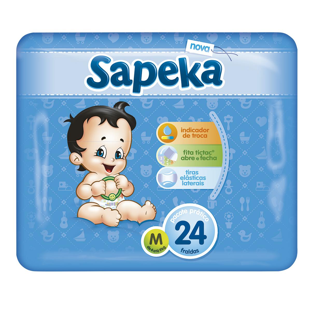 f8189ca51 Fralda SAPEKA Pratica Média com 24 Unidades