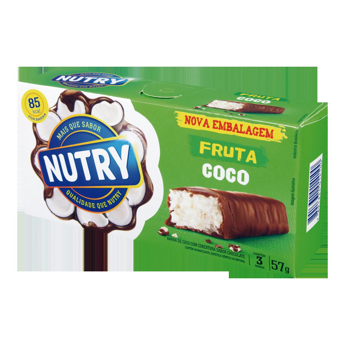 28fe378eb Cereal em Barra Sabor Coco NUTRY 57g Caixa com 3 Unidades