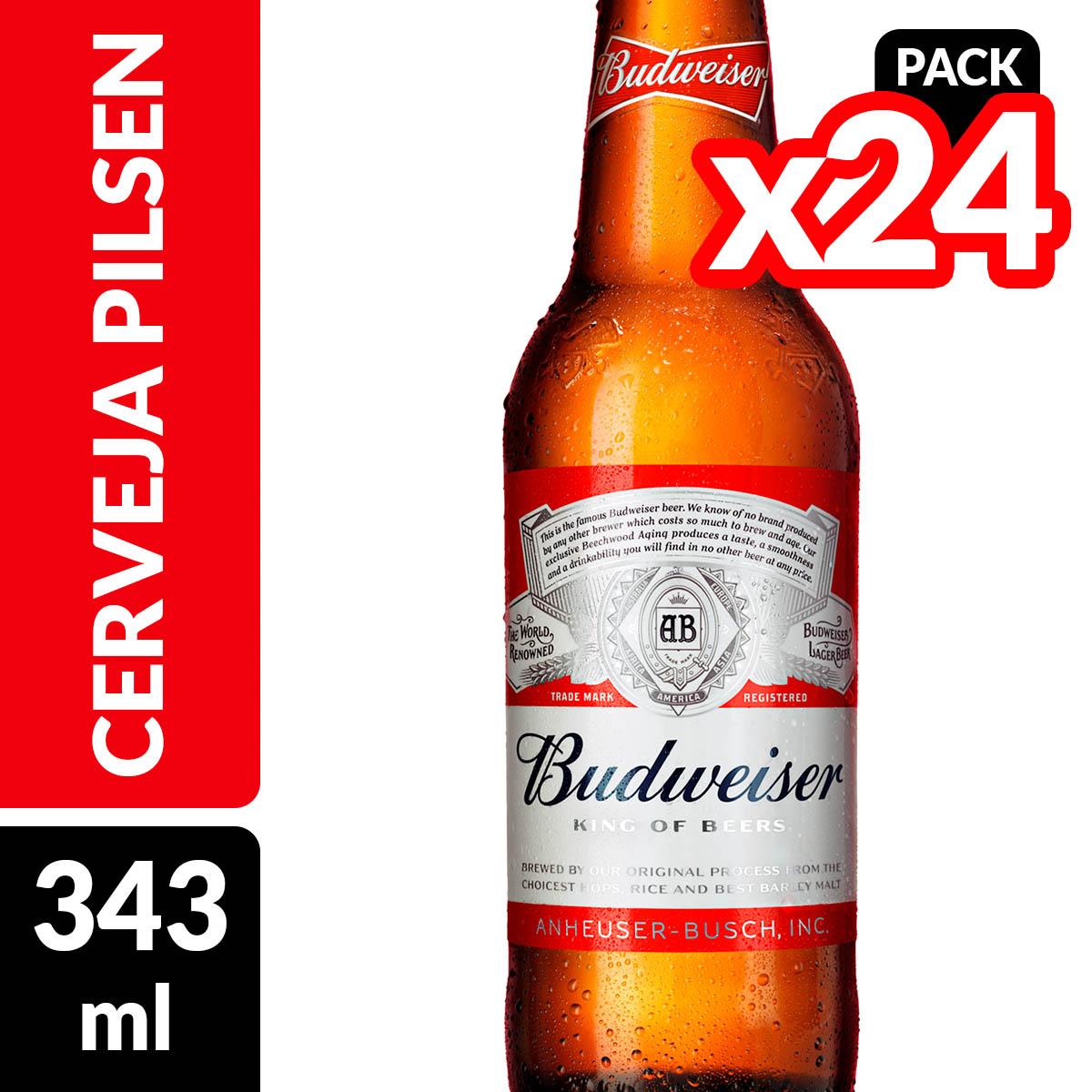 8d653f48258c3 Cerveja BUDWEISER Garrafa 343ml - Caixa com 24 Unidades