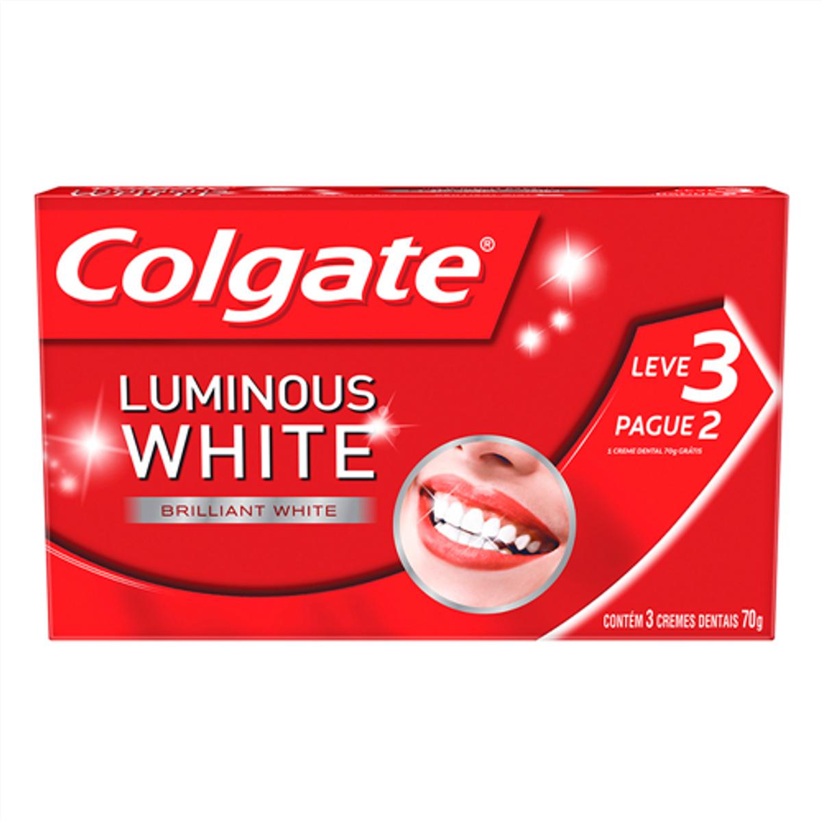 Creme Dental Branqueador Colgate Luminous White 70g Promo Leve 3 Pague 2