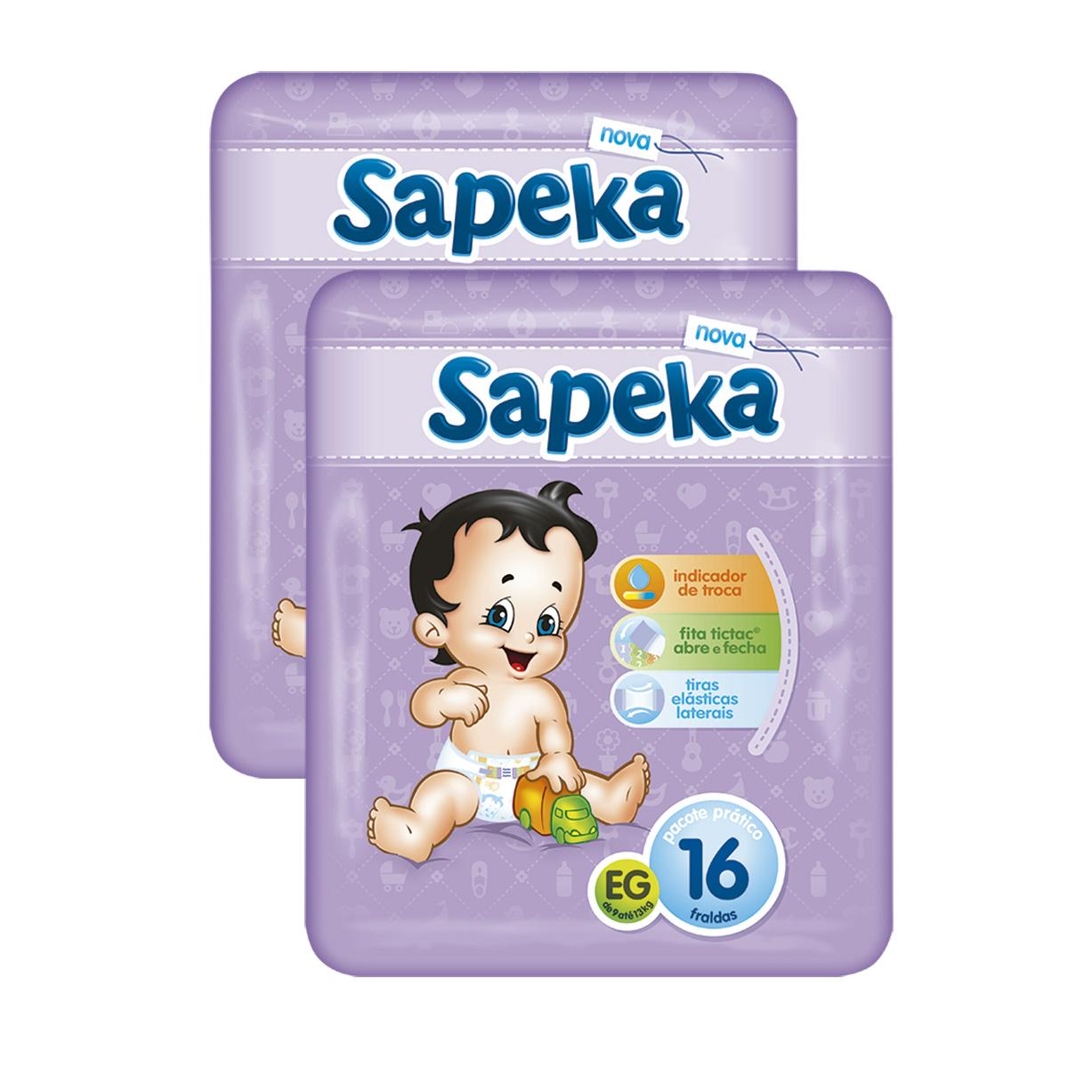 1e2f2c7ef Kit com 2 Fraldas SAPEKA Pratica Extra Grande Pacote com 16 Unidades Cada