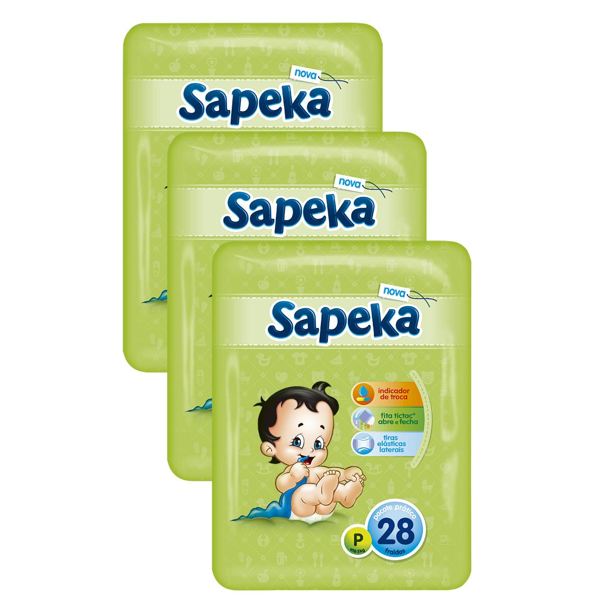 d65b245b7 Kit com 3 Fralda SAPEKA Prática Pequena Pacote com 28 Unidades Cada