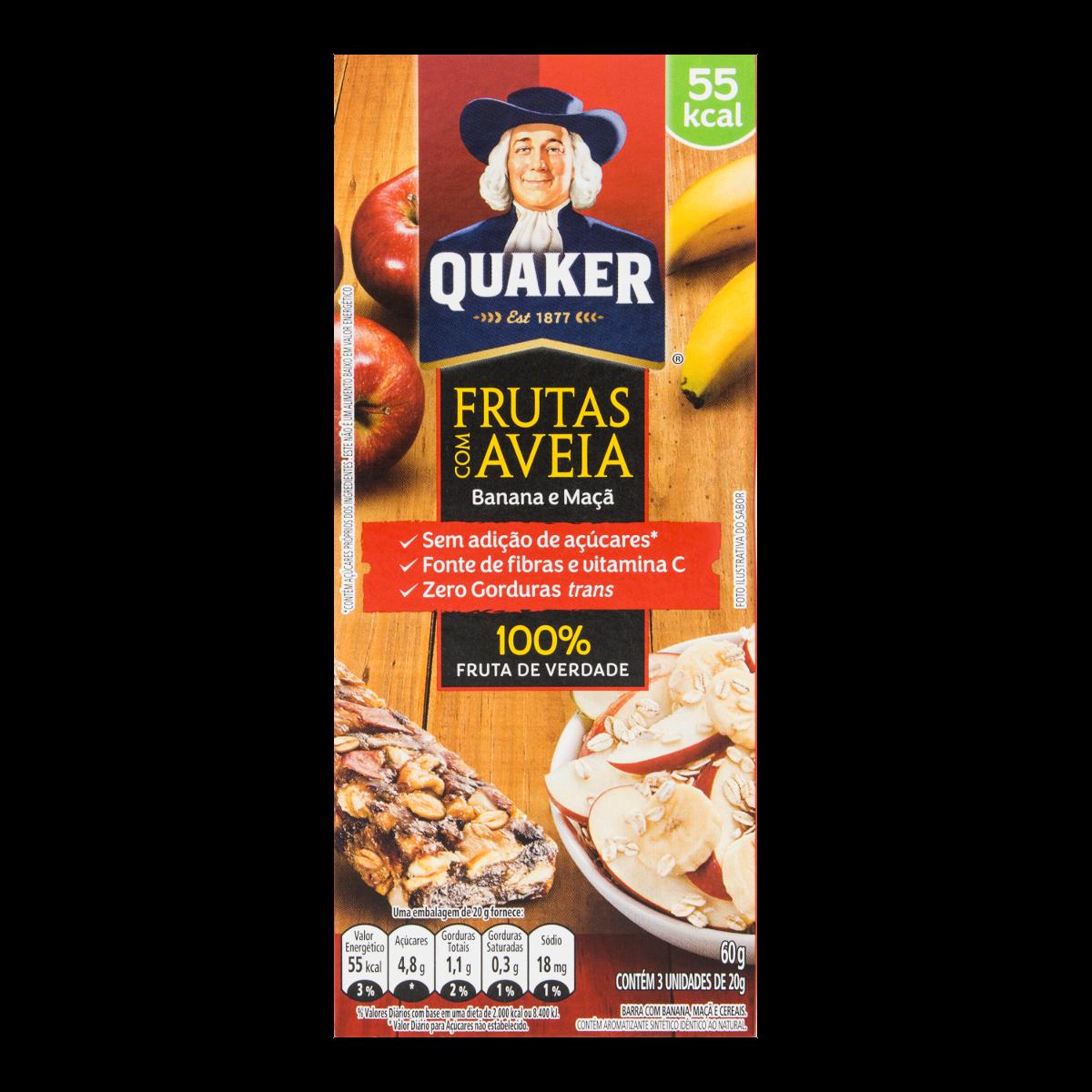 40d3fca65 Cereal em Barra Banana e Maçã QUAKER 60g Caixa com 3 Unidades