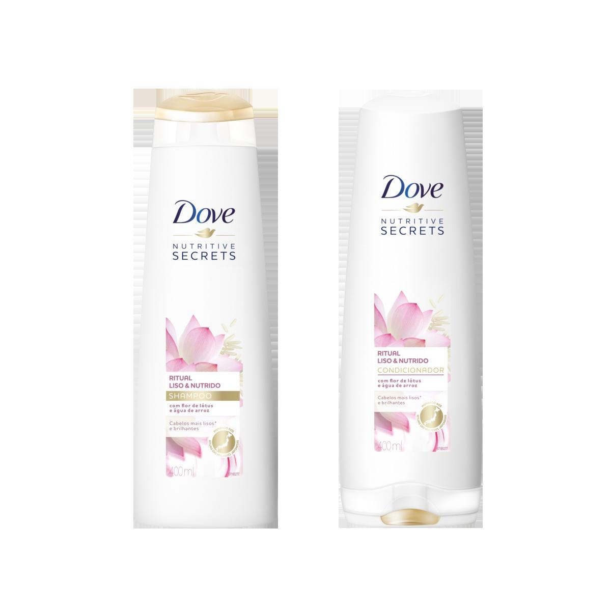 821d10e7d Kit de Shampoo + Condicionador DOVE Ritual Liso e Nutrido 400ml Cada